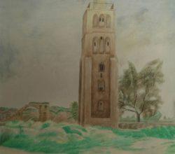 11-Tower in Al-Ramla .1996. Watercolor on paper, 60.3 x 45 cm.