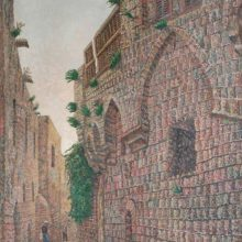 15-Houses in old Jaffa.1997. Oil on canvas, 76.7 x 38.5 cm.