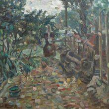 213-XXX- Woman feeding pigeons. 2010. Oil on canvas, 61.8x70.5 cm.