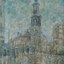 260-Rain in Amsterdam. 2012. Watercolor on canvas, 88x55.2 cm.