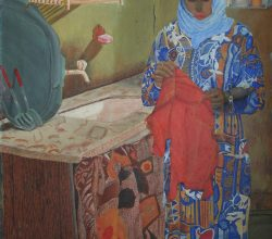 3-Young girl in the kitchen. 1993. Acrylic on canvas on wood, 75.7 x 53.8 cm.