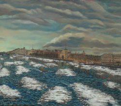 31-Merge the snow from the Bolshaya Neva St Petersburg. 2000. Oil on canvas, 74.6 x 226.6 cm.