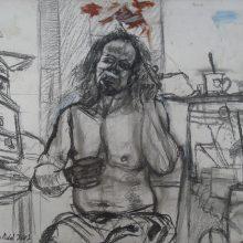 40-Self-portrait. 2002. Chalk on the carton, 69 x 81.3 cm.