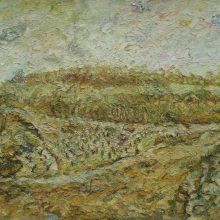 464-Garden in El Shararea in yellow. 2017. Oil on canvas, 47 x 72 cm.
