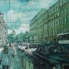 60-Morning at the beginning of Nevsky Prospect St Peter. 2004. Oil on canvas, 51.3 x 76.8 cm.